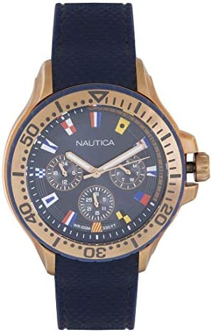 Nautica Men s Auckland Stainless Steel Quartz Sport Watch with Silicone Strap Blue 22 Model product image