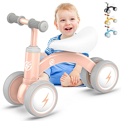 Baby Balance Bikes, Upgraded Toddler Bikes 10-36 Months Gifts for 1 Year Old Boys Girls, Cute Kids Riding Toys with Soft Seat & Silence Wheels to Train Baby Standing and Running for Indoor and Outdoor