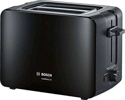 Bosch Hausgeräte TAT6A113 Kompakt-Toaster ComfortLine, automatische Brotzentrierung, Auftaufunktion, 1090 W, schwarz, 18.8 x 30.7 x 17