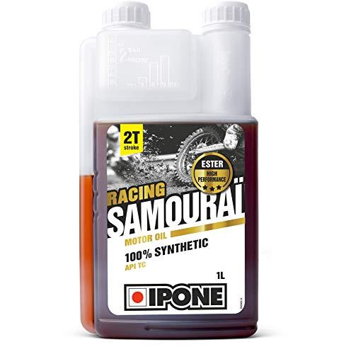 IPONE - Aceite Motor Moto 2 Tiempos Samouraï Racing - 100 % Sintético con Ésteres - Lubricante Alto Rendimiento - Envase Dosificador 1 Litro