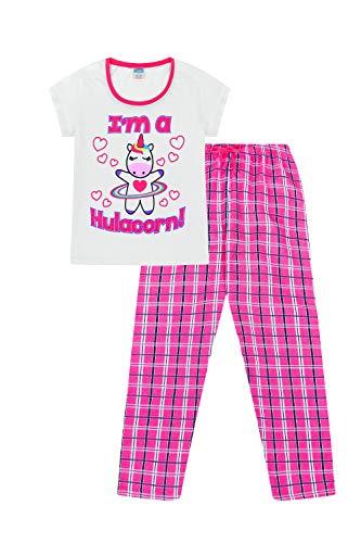 I Am Hulacorn Damen Pyjama, super süßes Einhorn, lange gewebte Hose Gr. 44, Schwarz