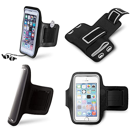 Antevia – Brazalete universal impermeable + bolsillo para llaves | Tamaño máximo: 16,2 cm | 10 modelos | Deporte para Smartphone Soporte | Color: Negro (Kelan Negro)