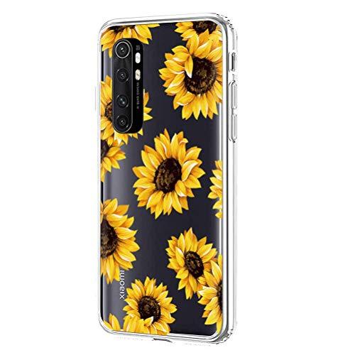 ZhuoFan Funda para Xiaomi Mi Note 10 Lite 4G, Cárcasa Silicona Transparente con Dibujos Diseño Suave TPU Antigolpes de Protector Piel Case Cover Fundas Movil para Mi Note10 Lite, Girasol