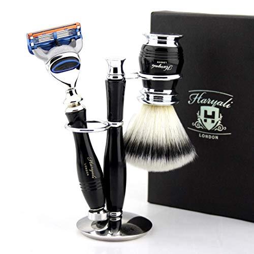 Luxe scheerset met synthetische haarborstel & Fusioncartouche compatibel scheermes + standaard | nat scheren cadeauset