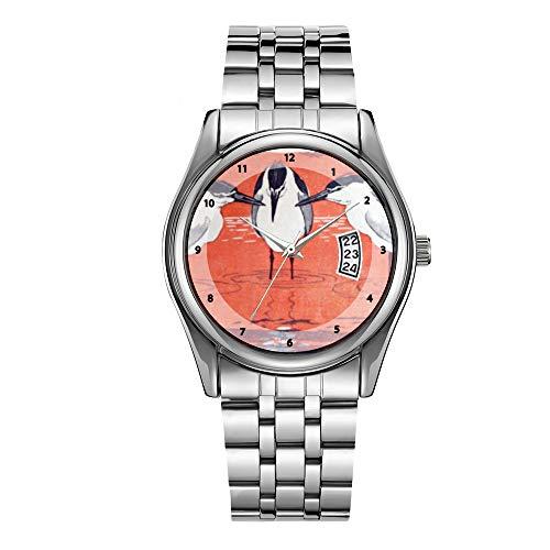 Luxus Herrenuhr 30m Wasserdicht Datum Uhr Männlich Sportuhren Männer Quarz Casual Weihnachten Armbanduhr Jugendstil (Modern) Nachtreiher - Otto Eckmann Uhren