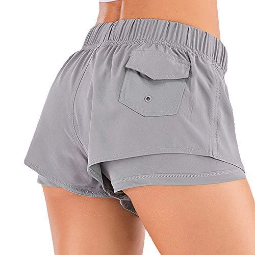 2 en 1 Shorts Femmes Cordon Élastique Sport Pantalon de Course Gym Yoga Jogging Court avec Poches
