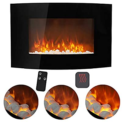 FIDOOVIVIA 35 Inch Electric Fire Heater Curved Wall Mounted Electrical Fireplaces with Remote Control Flame Effect, Temperature Adjustment, 220V-240V/50Hz, 900W/1800W for Living Room Bedroom Heater