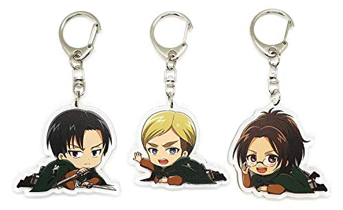Set of 3 Attack On Titan (Shingeki no Kyojin) Anime Acrylic Keychain Levi Ackerman, Erwin Smith, Hange Zoe