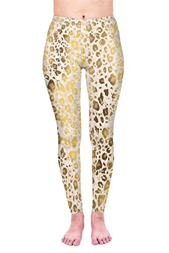 kukubird Printed Leopard Patterns Women's Yoga Leggings Gym Fitness Running Tights Size 6-10 Stretchable - Gold Shimmer Leopard