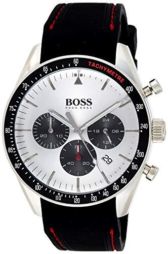 Hugo Boss Herren Chronograph Quarz Armbanduhr mit Silikonarmband
