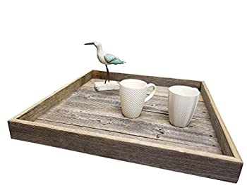 Ottoman Tray Made with Rustic Reclaimed Wood - Large Square Design for Coffee Table - Made in The USA  Grey 24 x24