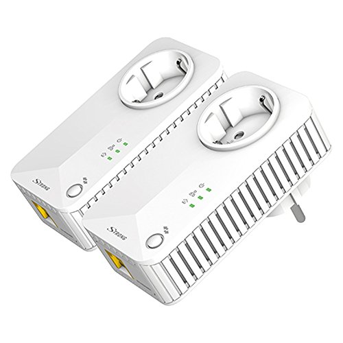 Strong POWERL500DUOEU Kit Powerline, AV 500 Mbps, 1 Porta Ethernet / LAN, Presa Passante Schuko, Plug and Play, Presa di Corrente Integrata, 2 Adattatori, Basso Consumo. Colore: Bianco