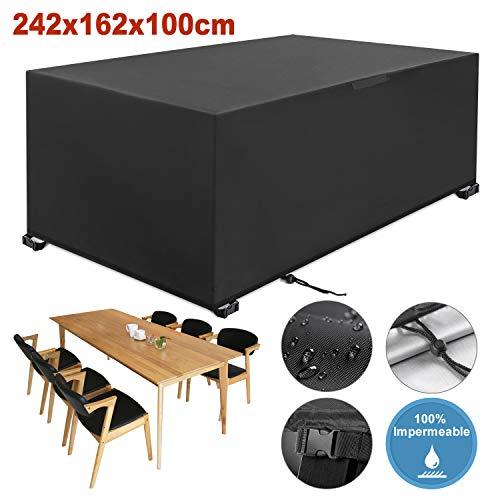 YISSVIC Cubierta de Muebles de Jardin Fundas de Muebles Impermeable Resistente al Polvo Anti-UV Proteccion Exterior Muebles de Jardin Cubiertas de Mesa y Silla Negro 242x162x100cm