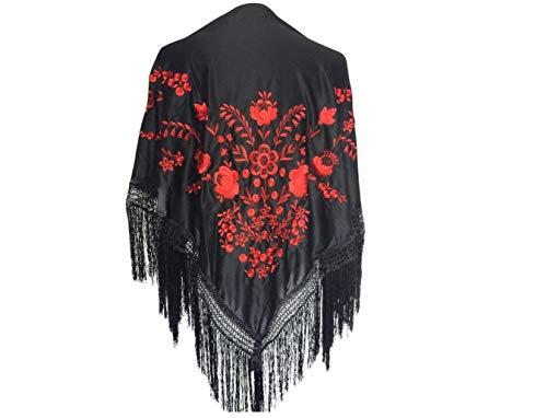 La Señorita Mantones Bordados Flamenco Manton De Manila Negro Flores Rojo Large