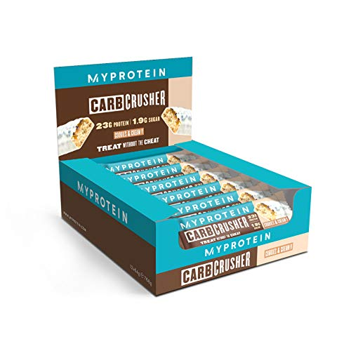 MyProtein Cookies and Cream Carb Crusher Protein Bars with Vitamins and Minerals. Healthy Snack That is Great Tasting, Vegetarian and Low in Sugar. High Protein Bar Pack of 12x 60g