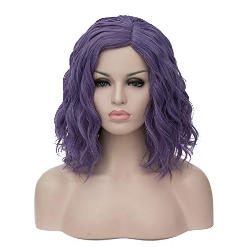 TopWigy Purple Gray Cosplay Wig Medium Length Curly Wave Colorful Synthetic Heat Resistant Hair Wigs Costume Party Anime Fun Bob Wigs for Women (Purple Gray 16' )