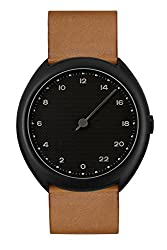 best military time watches - slow O 11 - Swiss Made one-hand 24 hour watch - Black with brown leather band