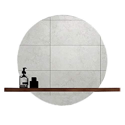 Miroir mural rond avec étagère | Grand miroir mural moderne avec cadre en argent et cercle | Panneau de verre rond flottant de première qualité, avec tablette de séparation en couleur noyer