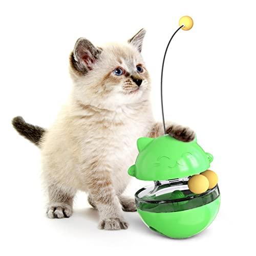WULE-RYP Pet-Produkte Katze Spielzeug Interaktiv Leckern Lebensmittel Ball Tumbler mit Katze Stick Pet Kätzchen Lebensmittelverteilung Spielzeug Pet Training Spielzeug Katze Zubehör (Color : Green)