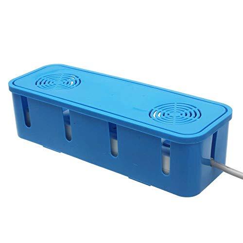 Brmind Socket opbergdoos, socket opslagdoos desktop stopcontact container stof draad kabel management, 27 * 8 * 9cm Blauw
