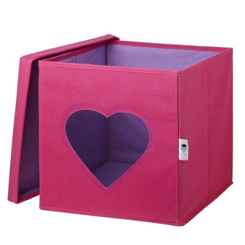 STORE.IT Spielzeugkiste mit Sichtfenster | Herz | 30x30x30cm | rosa