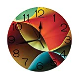 """Ingpopol Round Wall Clock Home Decorative New, Abstract, Graphic Curved Origami Design with Colored Details Work of Art, Diameter: 10.2""""/Thickness 0.2"""", Orange Blue White and Red"""