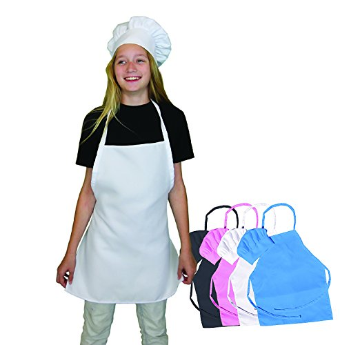 Kids Apron and Chef Hat Set - White kids Chef Hat and Kids Apron are Adjustable. Fits Children Size Medium 6-12. Great Aprons for Kids Baking Sets. Free Childrens Baking Recipe eBook.
