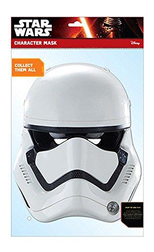 Star Wars – EP7 Stormtrooper Masque en carton brillant haute qualité en carton avec trous pour les yeux, bande élastique – taille : env. 30 x 20 CM