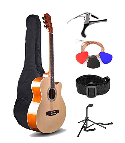 Kadence Frontier Series, Natural Acoustic Guitar With Die Cast Keys Super Combo(Fordable Guitar Stand,Tuner,Capo,Bag,strap,strings and 3 picks)