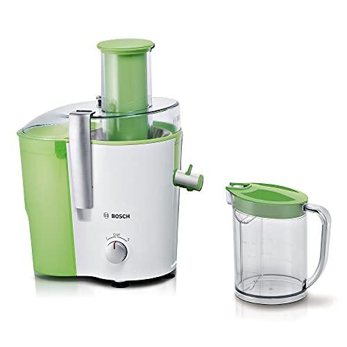 Bosch Entsafter VitaJuice 2 MES25G0, elektrische Saftpresse für Obst und Gemüse, großer Einfüllschacht, 1,25l Saftbehälter, mehrere Geschwindigkeiten, spülmaschinengeeignet, 700 W, weiß/grün