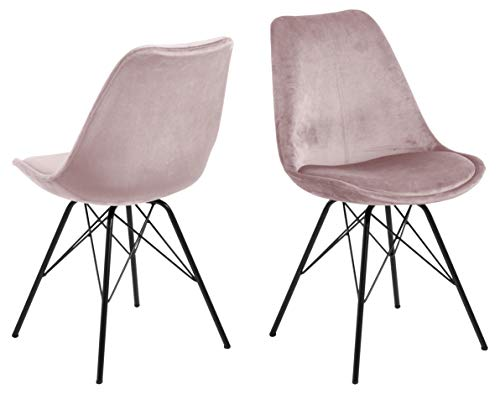 AC Design Furniture Emanuel Dining Chair, Polyester, Rose, L: 54 x W: 48.5 x H: 85.5 cm