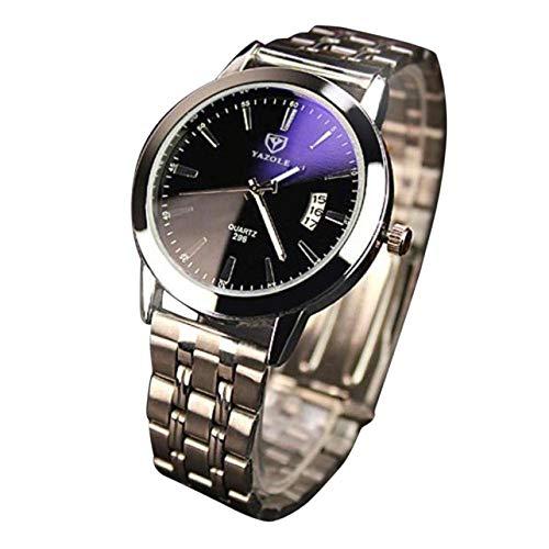 QWRjj Uhren Mode herrenuhr nachtleuchtende Edelstahl Glas quarzuhren Leben wasserdicht Clock-Black_China