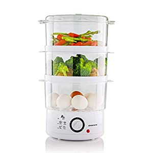 Ovente FS53W 7.5-Quart 3-Tier Electric Vegetable and Food Steamer