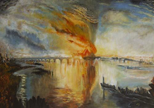 Der Brand des Parlaments nach Turner 50x70 Ölgemälde