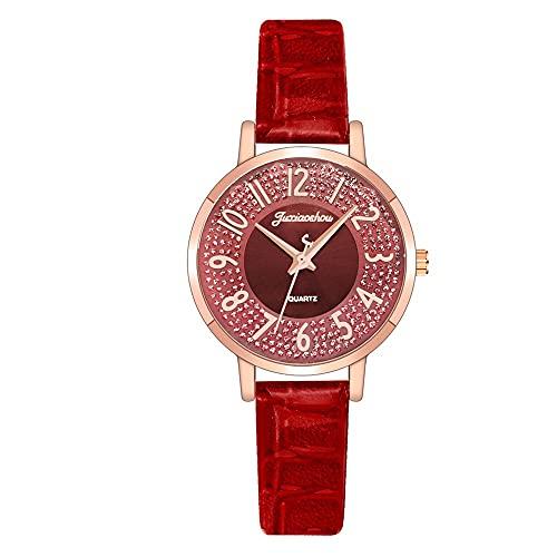 CXJC Señoras Relojes en 10 Colores. Reloj de Cuarzo Digital Redondo de 35 mm. Cuero + Material de aleación (Color : C)