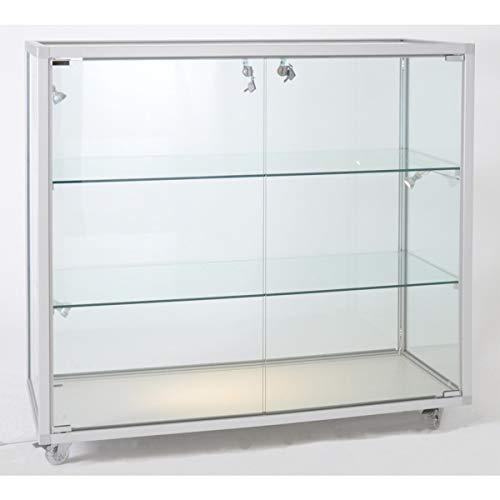 MHN Thekenvitrine beleuchtet Glas abschließbar Verkaufstheke rollbar Glasvitrine halbhoch Ladentheke 80 cm breit