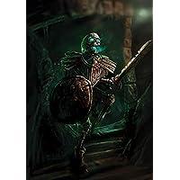 A4(8,3x 11,7cm) Fantasy Art Print, esqueleto guerrero caballero, Undead, bolas, de regalo de artista Independiente.