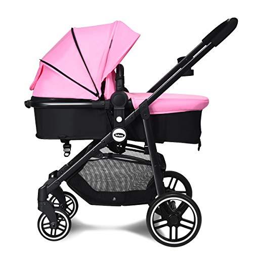 INFANS 2 in 1 Baby Stroller, High Landscape Infant Stroller & Reversible Bassinet Pram, Foldable Pushchair with Adjustable Canopy, Storage Basket, Cup Holder, Suspension Wheels (Pink)