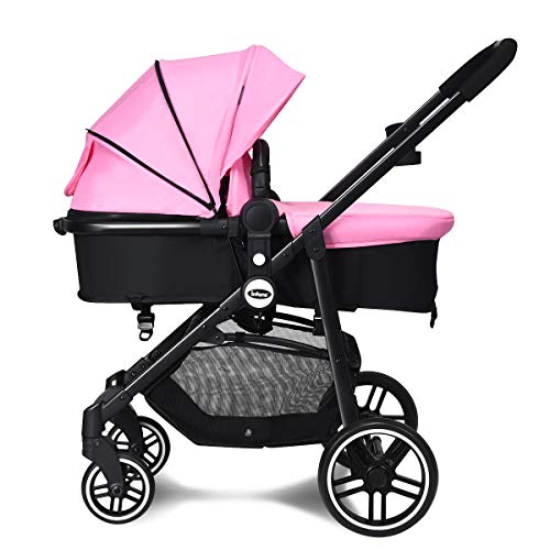 INFANS 2 in 1 Baby Stroller, High Landscape Infant Stroller & Reversible Bassinet Pram, Foldable Pushchair with Adjustable Canopy, Storage Basket, Cup Holder, Suspension Wheels (Pink)