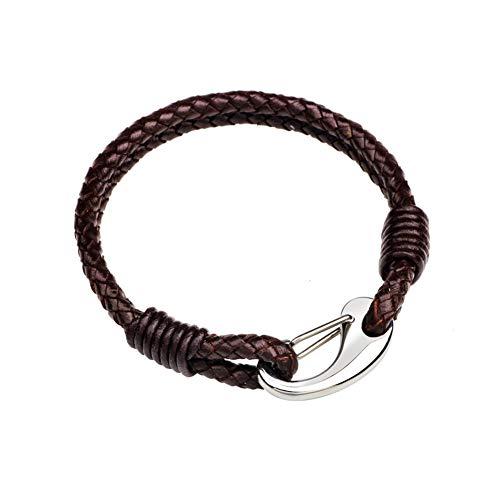 WXYBF Armband Gevlochten Leer Zwart Bruin Echt Lederen Bangle Met Sluiting Duurzame Armband
