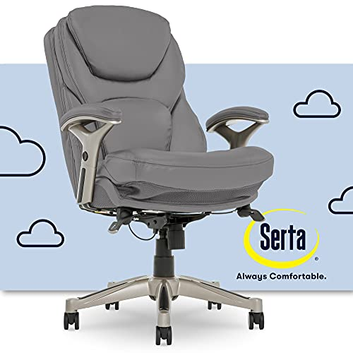 Serta Ergonomic Executive Office Chair Motion Technology Adjustable Mid Back Design with Lumbar Support, Gray Bonded Leather
