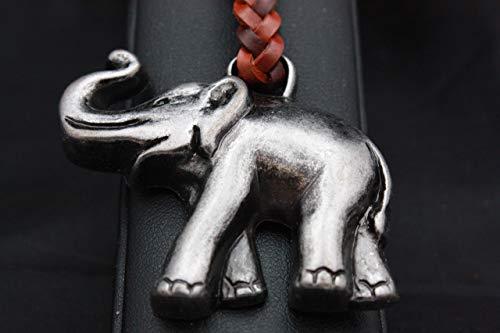 Llavero Cuero trenzado Elefante de la Suerte en Zamak Cromo Envejecido