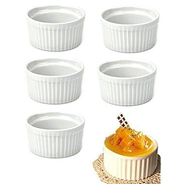 DOYOLLA Set of 8 Round Porcelain Oven Safe Ramekin Dessert Souffle Baking Dish (white)