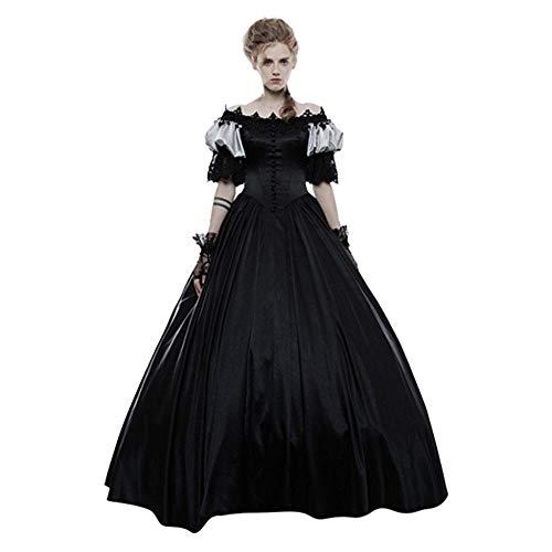 YEBIRAL Damen 1/2Ärmel Mittelalter Party Kleid Viktorianischen Königin Kleider Gothic Jahrgang Prinzessin Renaissance Kostüm Bodenlänge Maxikleid für Hochzeit, Karneval, Halloween