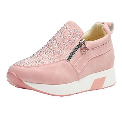 HULKY Zapatos Deportivos Plataforma Mujer, Zapatillas Brillantes Calzado con Cremallera Plano Calzado Running Andar Casual Fiesta CláSico Comodos (Rosado,40)