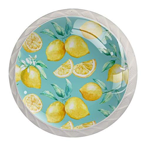 Paquete de 4 pomos de cocina de cristal, mango redondo para cajón, diseño de cítricos, amarillo limón