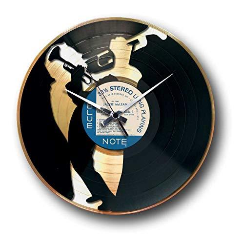 DISCOCLOCK - DD035GB - JAZZ - Wanduhr aus Vinyl Schallplattenuhr mit Trompete Jazz-Musiker Motiv Upcycling Design Uhr Wand-Deko Vintage-Uhr Retro-Uhr MADE IN ITALY - Schnelle lieferung 24 uhr!