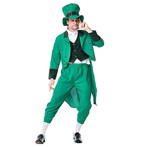 Upretty St. Patrick's Day Leprechaun Kostüm mit Zylinder Neuheit Outfit Zubehör für Erwachsene Kinder