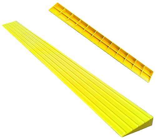 Rampa Rampa de la rampa de bordillo Rampa de triángulo portátil de carga a 2000kg de plástico Rampa de umbral de rampa de interior Pad Pad Mat (Color : Yellow)
