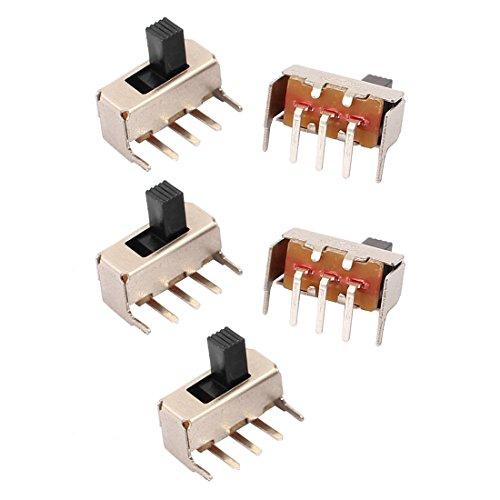 sourcing map 5pcs DC50V 0.5A 2 Posición 3P SPDT Micro interruptor deslizante Interruptor de enclavamiento de energía